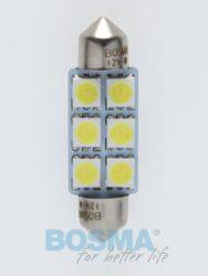 12V LED žárovka sufit SV8,5 12x39 6xLED SMD 5050 bílá BOSMA blistr 2ks