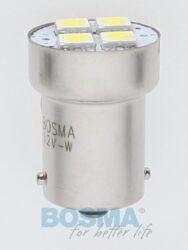 12V Ba15s LED žárovka 4xLED SMD 5050 bílá BOSMA blistr 2ks