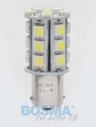 12V Ba15s LED žárovka 24xLED SMD 5050 bílá BOSMA blistr 2ks