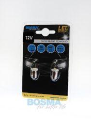 12V Ba9s LED žárovka 1xLED SMD 5050 bílá BOSMA blistr 2ks(LED3130)