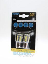 12V BAY15d LED žárovka 18xLED SMD 5050 bílá BOSMA blistr 2ks(LED3239)