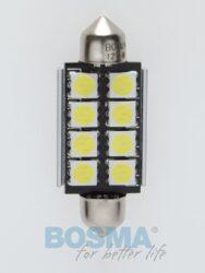 12V LED žárovka sufit SV8,5 17x41 6xLED SMD 5050 CANBUS bílá BOSMA blistr 2ks