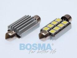 12V LED žárovka sufit SV8,5 17x41 6xLED SMD 5050 CANBUS bílá BOSMA blistr 2ks(LED3864)