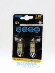 12V LED žárovka sufit SV8,5 10x41 2xLED SMD 7080 bílá BOSMA blistr 2ks(LED3734)