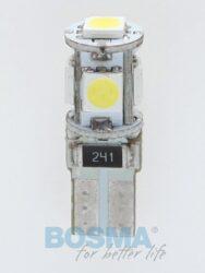 12V T10 LED žárovka 5xLED SMD 5050 CANBUS bílá BOSMA blistr 2ks