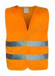 Vesta výstražná oranžová EN 20471:2013-Výstražná reflexní vesta oranžová se zapínáním na suchý zip. Dva reflexní pruhy po celém obvodu. Nové reflexní prvky dle vyhlášky 20471/2013