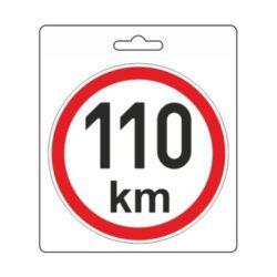 Samolepka omezená rychlost 110km/h (110 mm)-Samolepka omezená / konstrukční rychlost vozidla.  Velikost (průměr) 11 cm