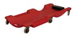 Plastové lehátko pojízdné s čalouněnou opěrkou hlavy 1000x480x105mm-Lehátko pojízdné o rozměrech 1000x480x105mm. Plastové pojízdné lehátko s čalouněnou opěrkou hlavy. Odkládací přihrádky na nářadí po stranách.