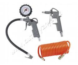 Kompresorová sada 3ks, ofukovací pistole,pistole s manometrem+hadice-Kompresorová sada se skládá z pistole nafukovací s manometrem - pro snadné plnění stlačeným vzduchem (např.pneumatik automobilů, kol apod.), pistole ofukovací - pro vyfukování např. kovového prachu ze špatně přístupných míst, spirálová hadice 5m - pro připojení pneumatického nářadí ke kompresoru. Pracovní tlak 5barů - max. 8barů.