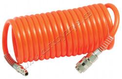 Spirálová vzduchová hadice 15M,8atm-Spirálová tlaková hadice 15m s rychlospojkami, prac. tlak 8-9bar, tlak volně průchozího vzduchu až 25bar.