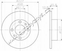 Brzdový kotouč přední Alfa Romeo,Fiat,Lancia 227x10,8 AP-typ brzdoveho kotouce: plný průměr v mm: 227 sila brzdoveho kotouce v mm: 10,8 minimalni tloustka (v mm): 9 vyska ( v mm ): 45,8 Centrovaci prumer [mm]: 61,5 Počet děr: 4 Utahovaci moment [Nm]: 86