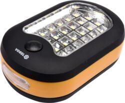 Svítilna ruční 24+1 LED-Přenosná svítilna osazená vysoce svítivými SMD LED diodami s nízkou spotřebou.  Poskytuje dva režimy světla - stálé bílé rozptylové světlo 24x LED a stálé bílé bodové světlo 3x LED.  Napájení 3x AAA baterie (LR03, nejsou součástí balení). Svítilnu lze snadno upevnit vestavěným magnetem na zadní straně, nebo zavěsit na zabudovaný výklopný háček.