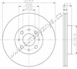 Brzdový kotouč přední Alfa Romeo,Fiat,Lancia 257,4x20 BRADI-průměr v mm: 257 sila brzdoveho kotouce v mm: 20 minimalni tloustka (v mm): 18,2 Počet děr: 4 Kruhový vyvrt ? 2 [mm]: 98 vyska ( v mm ): 40,5 Centrovaci prumer [mm]: 59 vnitřní průměr [mm]: 126,7 Vrt-? [mm]: 13