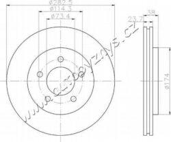 Kotouč brzdový přední CHRYSLER VOYAGER 3.3/2.5D-CHRYSLER VOYAGER I 3.3 110/120kw 1990-1995/brCHRYSLER VOYAGER I 2.5D 87kw 1992-1995
