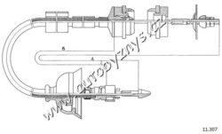 Lanko spojkové Peugeot 405 BENDIX-délka kabelu: 735 délka 1 [mm]: 518