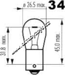 Žárovka 12V 21W Ba15s červená