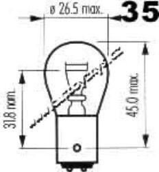 Žárovka 12V 21-5W BaY15d červená